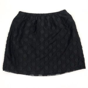 J Crew | Silk Linen Mini Circle Polka Dot Skirt